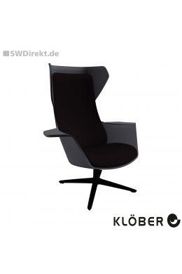 Lounge-Sessel WOOOM mit Ohren - Polsterung schwarz, Schale dunkelgrau