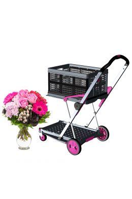 Transport-Klappmobil Clax Pink Dream Edition + Blumenstrauß mit Vase