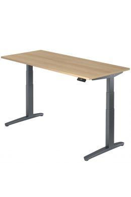 Arbeitstisch elektrisch höhenverstellbar 65-130 cm, Gestell graphit, Tischplatte Eiche Dekor
