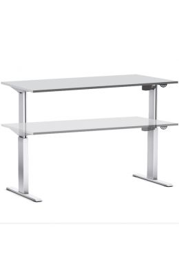 Arbeitstisch elektrisch höhenverstellbar 70-116 cm, Tischplatte grau